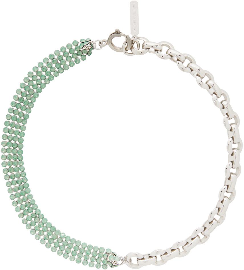 Justine Clenquet 银色 & 绿色 River 颈链