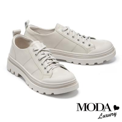 休閒鞋 MODA Luxury 率性玩味全真皮綁帶厚底休閒鞋-灰