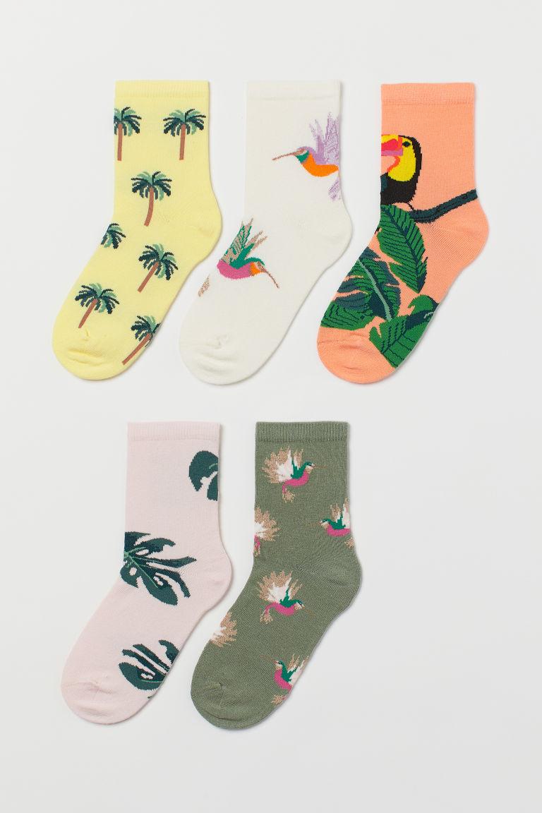 H & M - 5雙入印花襪 - 粉紅色