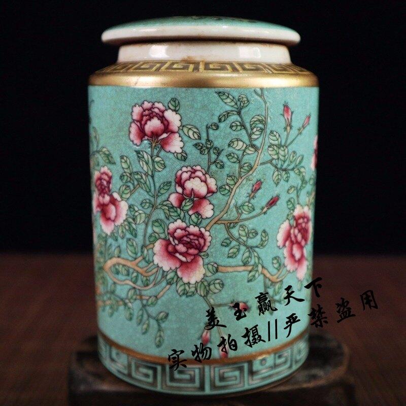 古玩收藏陶瓷器 描金綠底粉彩花卉圖紋茶葉罐 仿古瓷器罐家居擺設