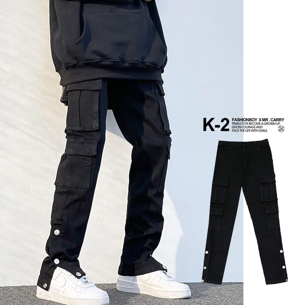 【K-2】VIBE風 重裝 工作褲 Ken lijima 口袋長褲 牛仔長褲 褲管扣環 機能牛仔褲 直筒褲【BD633】
