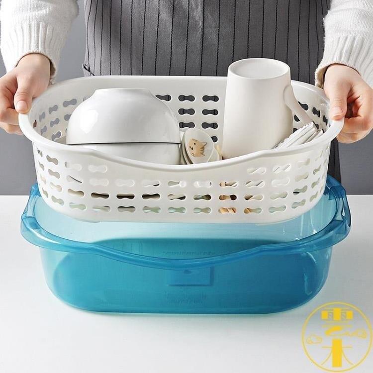 餐具收納盒廚房臺面帶蓋瀝水碗碟置物架家用【夏沐生活】