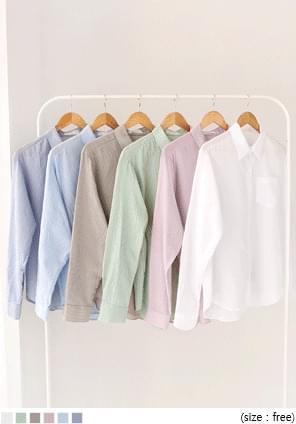 韓國空運 - 直條紋單口袋寬鬆版襯衫