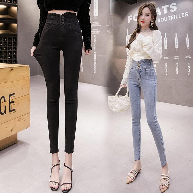 VIVILIAN韓系高腰個性顯瘦排扣腰部交叉鏤空設計牛仔褲