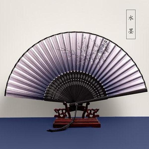 折扇 扇子折扇中國風古風女日式小復古折疊古典古裝流蘇布夏季跳舞舞蹈【免運】
