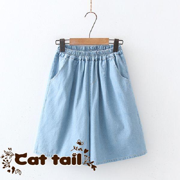 《貓尾巴》KT-0655 日系鬆緊腰雙口袋牛仔短褲(森林系 日系 棉麻 文青 清新)