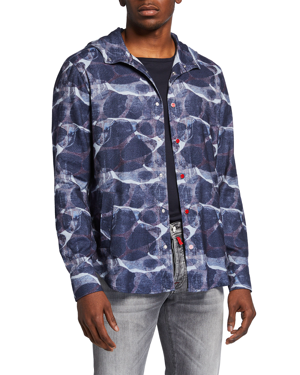 Men's Large Print Hooded Snap-Front Shirt Jacket