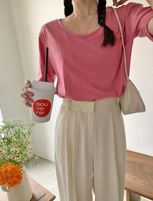 韓國空運 - Mono Color U Neck Short Sleeve Tee 短袖上衣