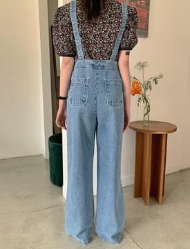 韓國空運 - Toy Wide Denim Overall Pants 牛仔褲