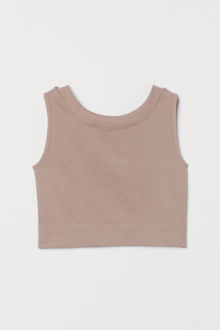 H & M - 短版無痕運動上衣 - 粉紅色