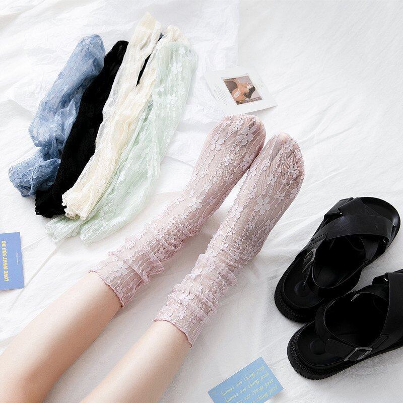 夏季女襪  襪子女中筒襪透明蕾絲春夏堆堆襪薄款網紗玻璃襪日系ins潮涼鞋襪【MJ12552】
