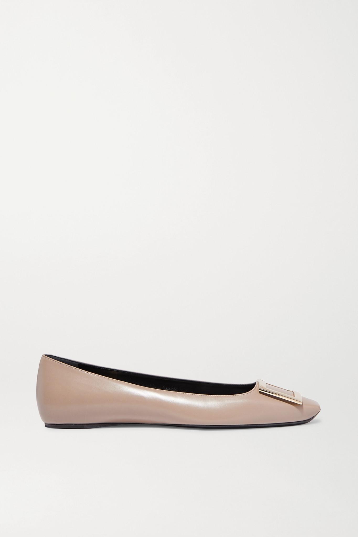 ROGER VIVIER - Quadrata Trompette Embellished Leather Ballet Flats - Brown - IT36