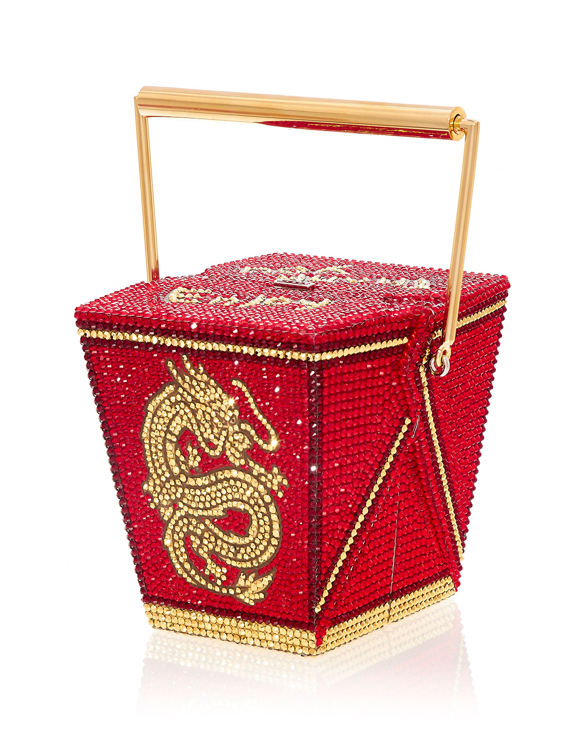 Take Out Food Golden Dragon Crystal Clutch Minaudiere, Red