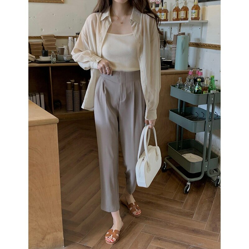 西裝褲女2021夏新款韓版蘿蔔褲高腰顯瘦寬鬆休閒褲