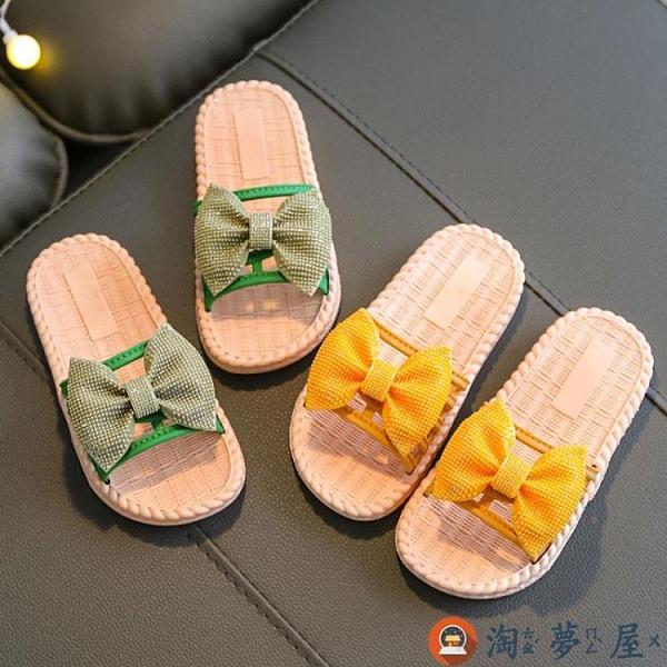 女童拖鞋夏蝴蝶結 公主兒童涼拖防滑軟底小女孩夏季【淘夢屋】