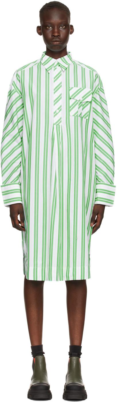 GANNI 绿色 & 白色条纹衬衫连衣裙