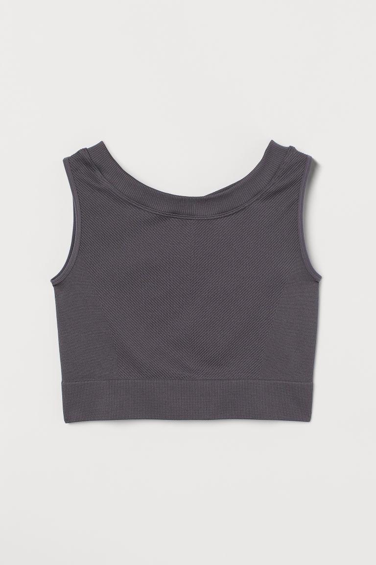 H & M - 短版無痕運動上衣 - 灰色
