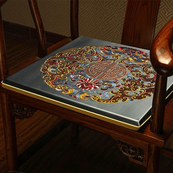 坐墊 新中式坐墊椅墊紅木家具實木椅子坐墊防滑太師椅官帽四季通用座墊