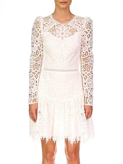ML Monique Lhuillier Lace Long-Sleeve Cocktail Dress