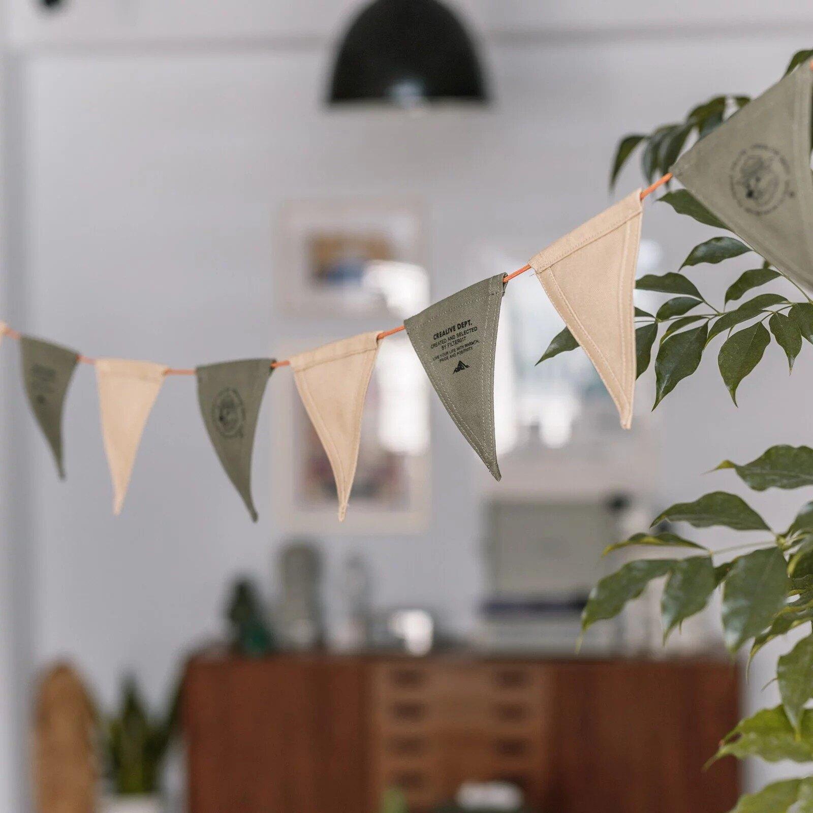 《愛露愛玩》【Filter017】上蠟帆布三角旗繩 裝飾三角旗 小三角旗 裝飾用品 三角旗 露營裝飾 帳篷裝飾