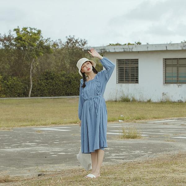 Queen Shop【01085499】荷葉造型棉麻長袖洋裝 兩色售*現+預*