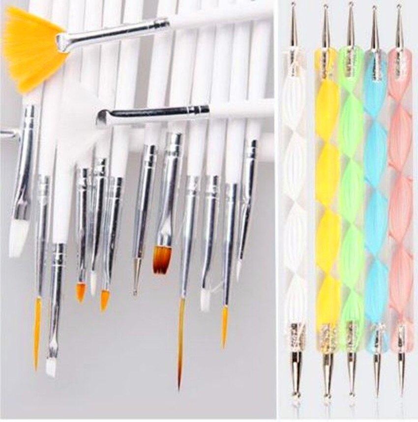 【20件套=15支筆+5支點珠筆】20件套組 光撩 美甲 筆 閃粉 亮片 光撩 水晶 美甲材料~L-23