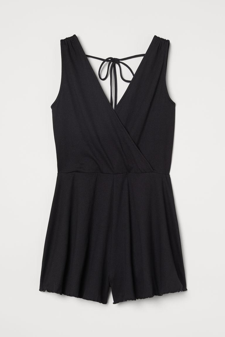 H & M - V領連身褲裝 - 黑色
