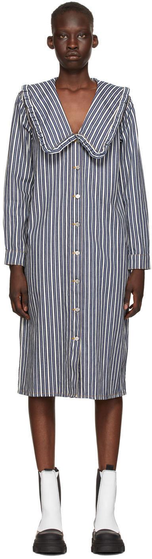 GANNI 蓝色 & 白色 Mixed Stripe 丹宁衬衫连衣裙