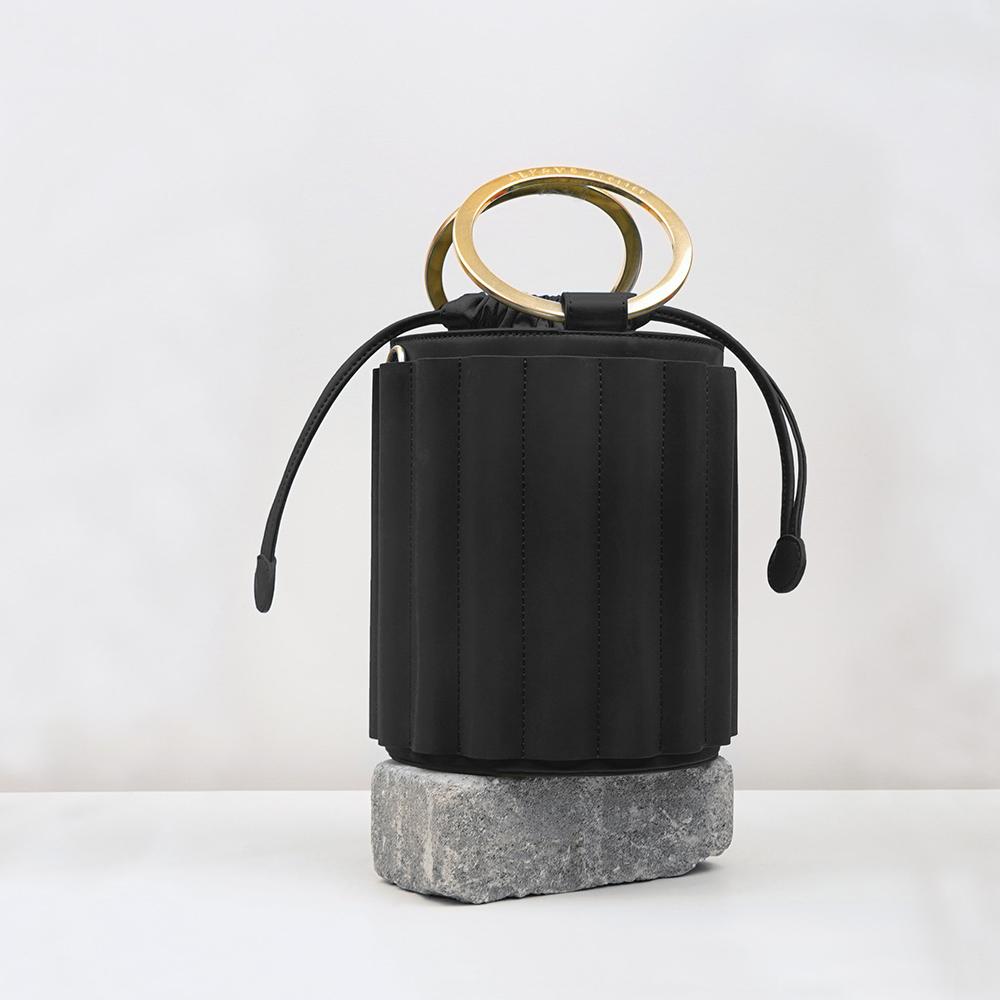 ALKEME ATELIER 美國環保時尚包款 黑色波浪設計水桶淑女包(大)