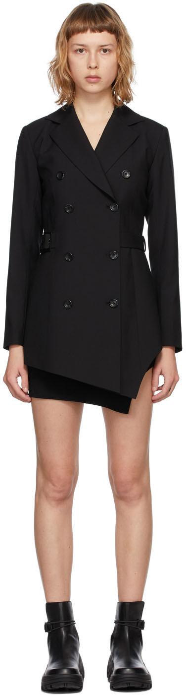 Hyein Seo SSENSE 独家发售黑色 Jacket 羊毛连衣裙