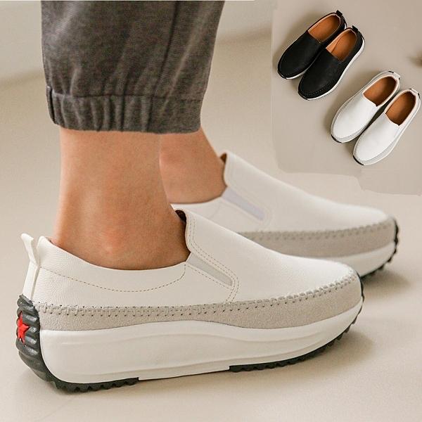 懶人鞋.簡約百搭素面皮革拼接麂皮厚底休閒鞋.白鳥麗子