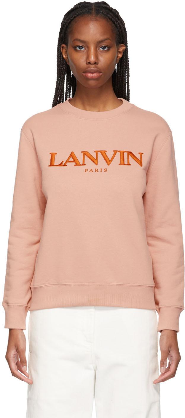 Lanvin 粉色刺绣徽标套头衫