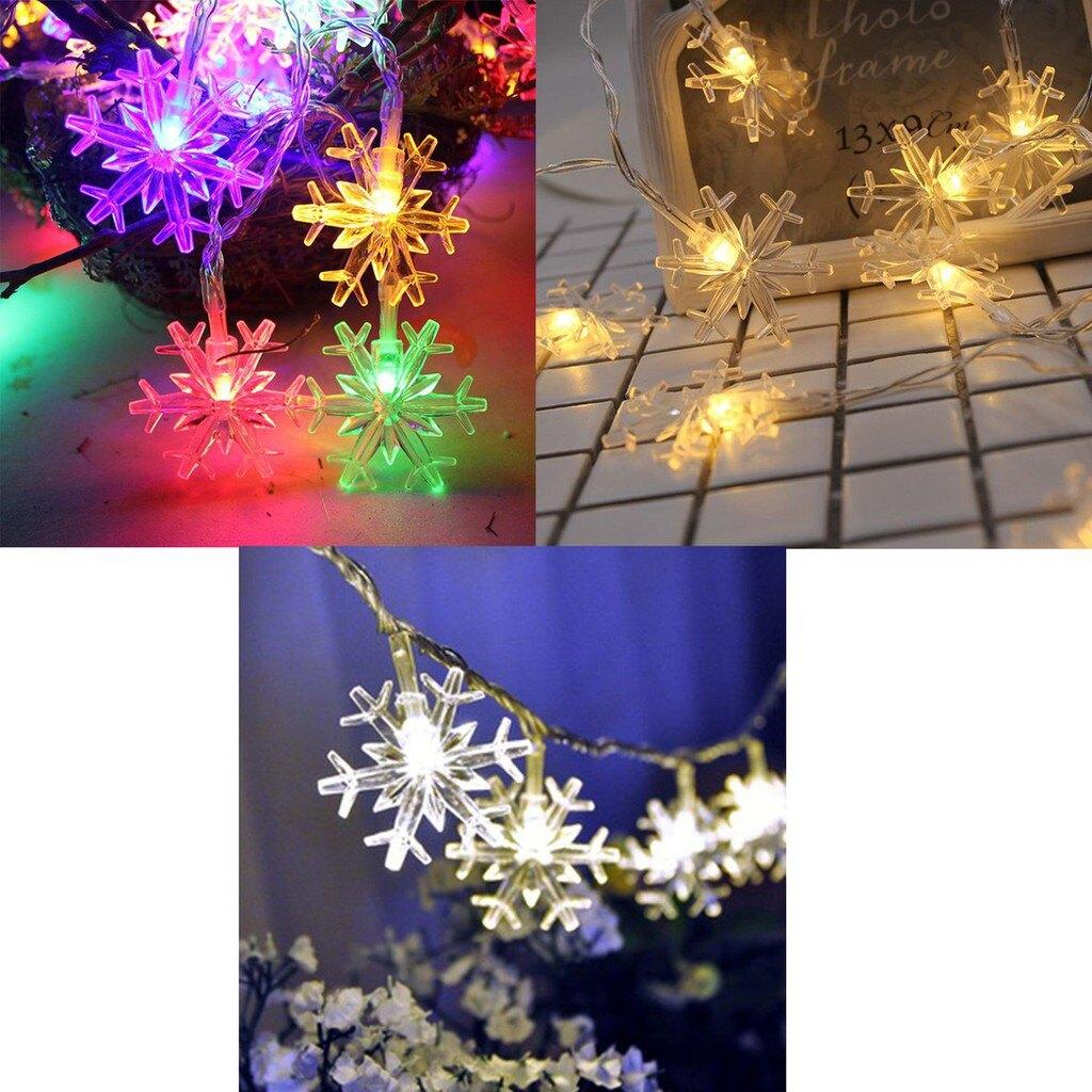 【全館免運】聖誕裝飾燈串雪花1米10燈彩色 CS燈具
