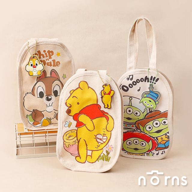 迪士尼帆布飲料提袋 附吊飾- Norns正版授權 小熊維尼 奇奇蒂蒂 三眼怪 熊抱哥 玩具總動員