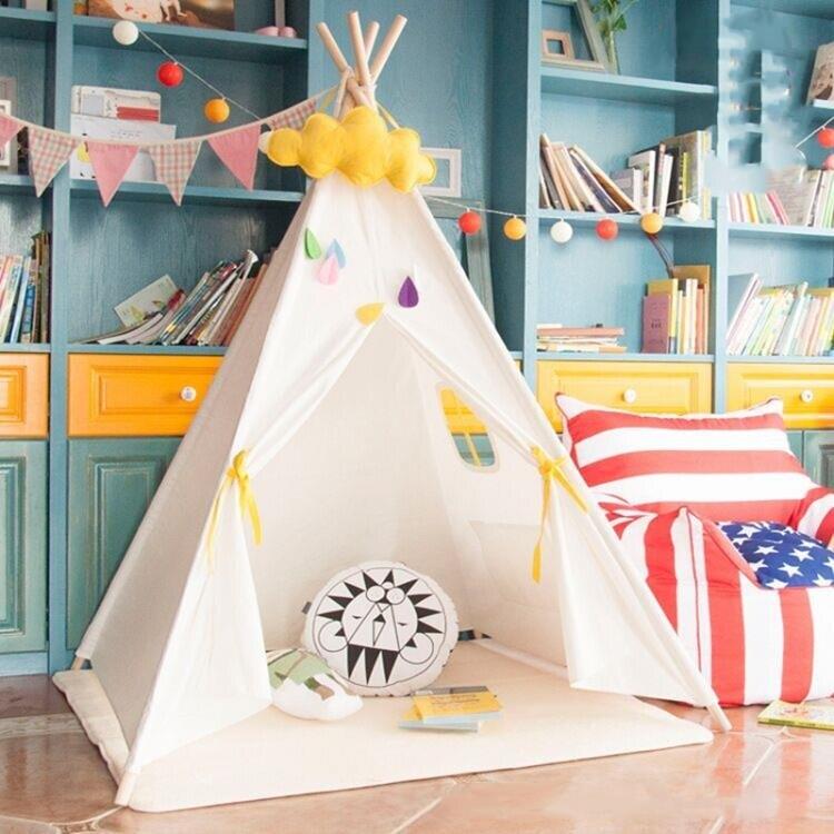 兒童帳篷 印第安兒童帳篷室內游戲屋寶寶玩具讀書角公主房裝飾野餐拍照TW【快速出貨八折搶購】