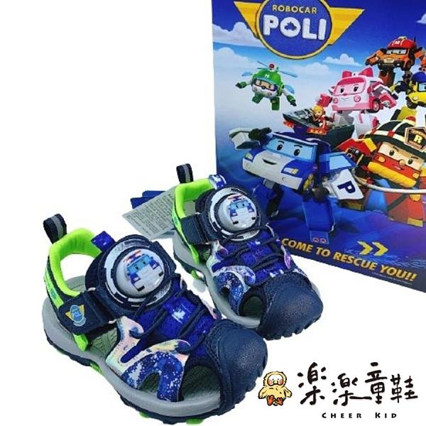 【樂樂童鞋】POLI救援小隊電燈涼鞋-藍綠波力款 P056-1 - 男童鞋 涼鞋 小童鞋 大童鞋 兒童涼鞋 現貨