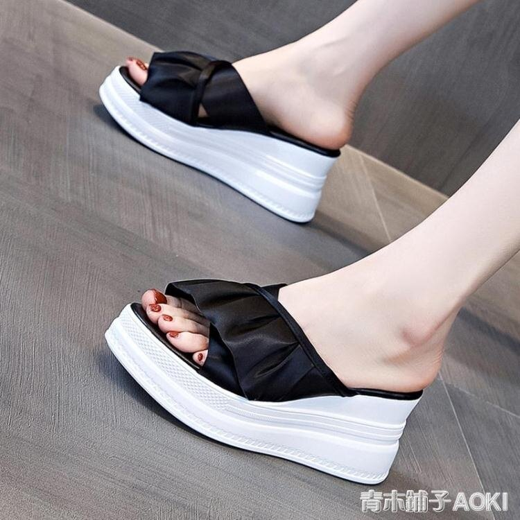 厚底楔形拖鞋女外穿2020年新款夏季時尚厚底增高鬆糕鞋高跟網紅涼拖鞋