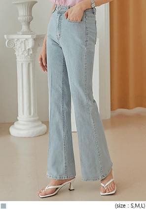 韓國空運 - 隱形鬆緊腰燙線喇叭牛仔褲