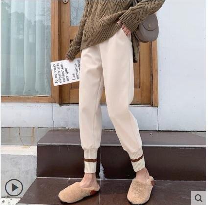 毛呢褲 毛呢褲子女秋冬外穿顯瘦百搭蘿卜高腰寬鬆哈倫網紅奶奶褲加厚 全館促銷