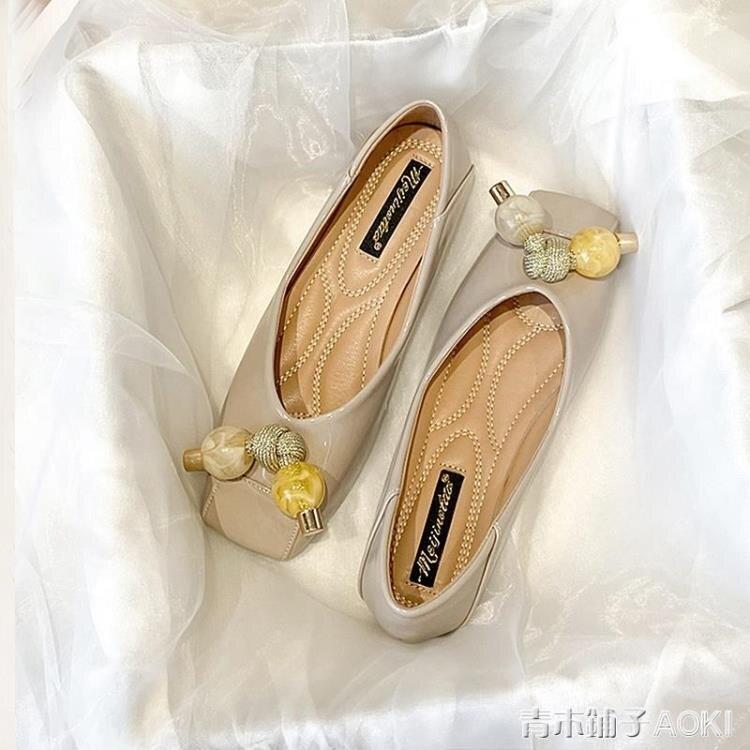 漆皮單鞋女夏甜美百搭淑女瓢鞋新款方頭淺口平底秋鞋大碼女鞋