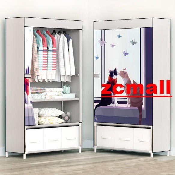 【全館免運】塑料組裝衣櫃 家用衣櫃 簡易衣柜布衣柜鋼管加固帶拉鏈收納架單人組裝衣櫥大號收納柜衣架