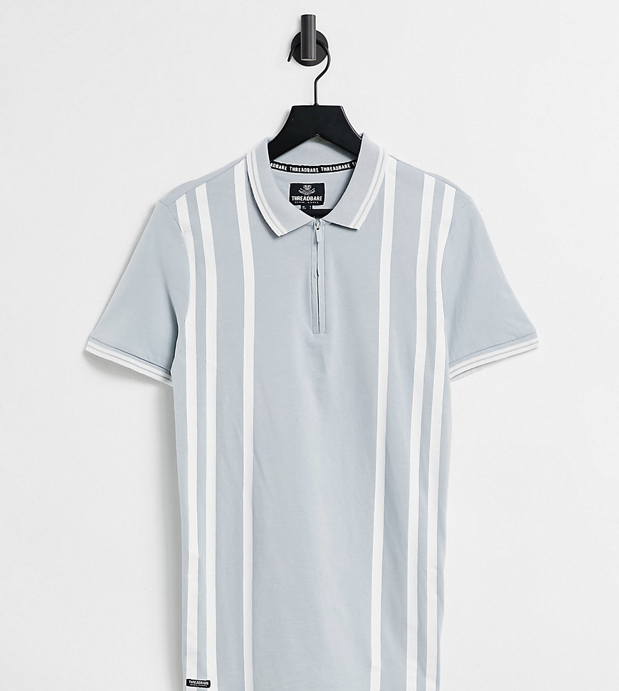 Threabare Tall stripe zip neck polo shirt in purist blue