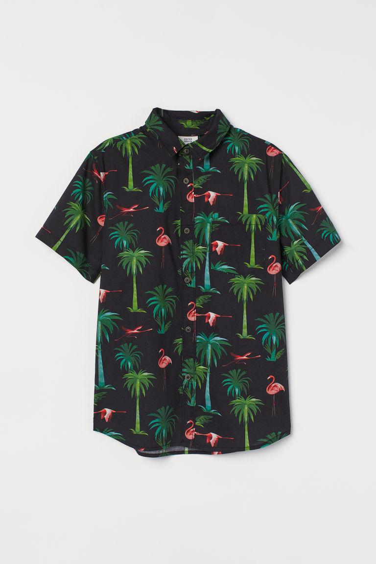 H & M - 印花襯衫 - 黑色
