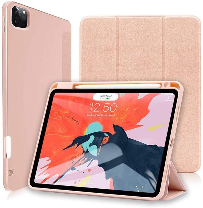 【日本代購】Wonzir iPad Pro 12.9 保護殼 2018/20型號通用 Pencil 2 支架功能 保護套輕量薄型簡單三折型 玫瑰金
