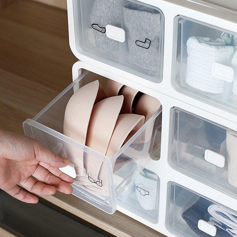 【拾美 PICK-UP BEAUTY】日式組合可疊加收納櫃 透明塑膠抽屜式收納櫃 防塵儲物收納箱 衣物收納盒 內衣收納