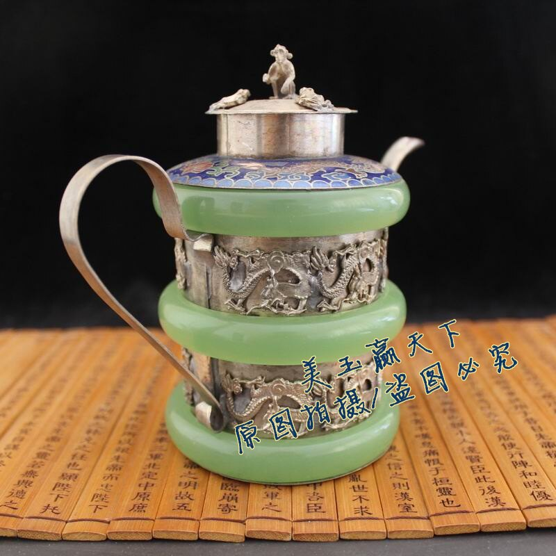 酒壺擺設品水壺古玩收藏品瓷器壺 銅包玉十二生肖茶壺 家居擺件