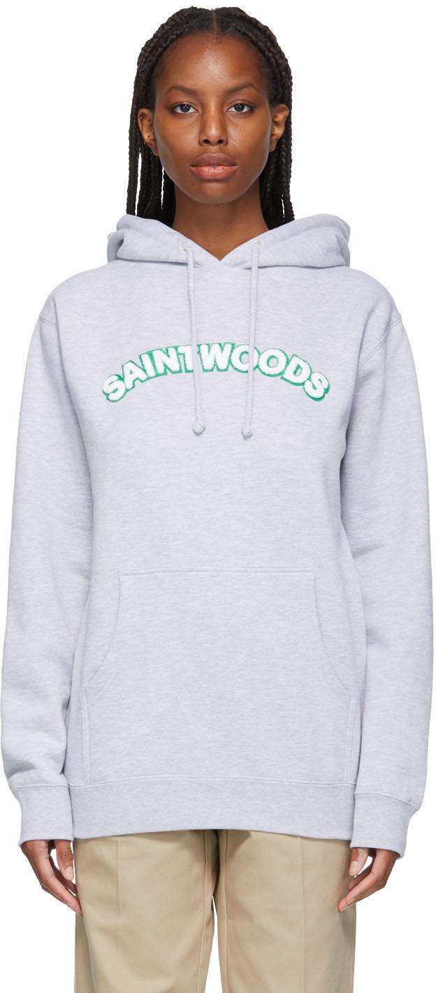 Saintwoods 灰色 Chenille Logo 连帽衫