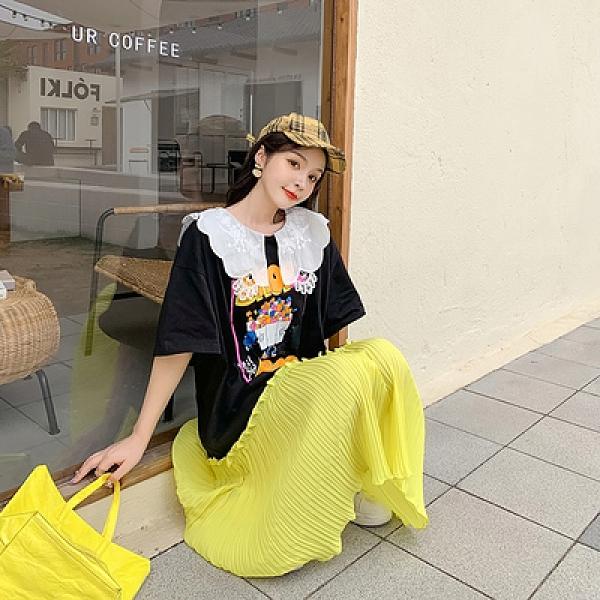 胖妹妹大碼洋裝連身裙~韓版花邊娃娃翻領拼色百褶裙中長款短袖連身裙811#N818莎菲娜