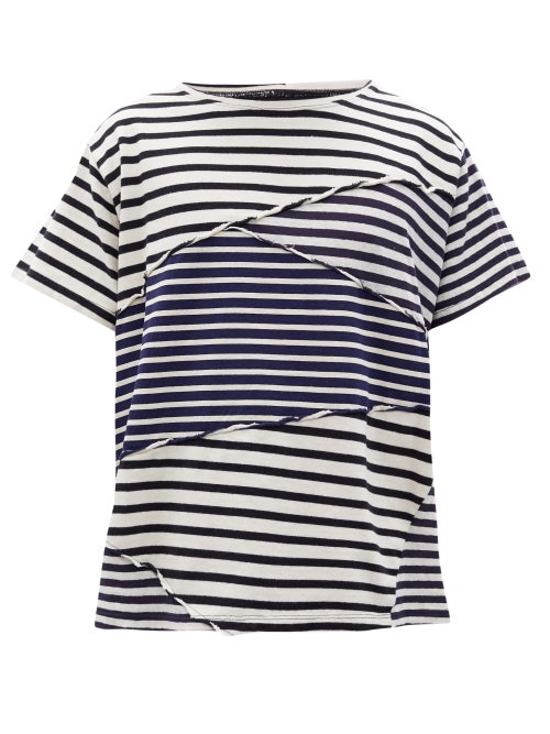 Greg Lauren - Panelled-stripe Cotton-jersey T-shirt - Mens - White Navy