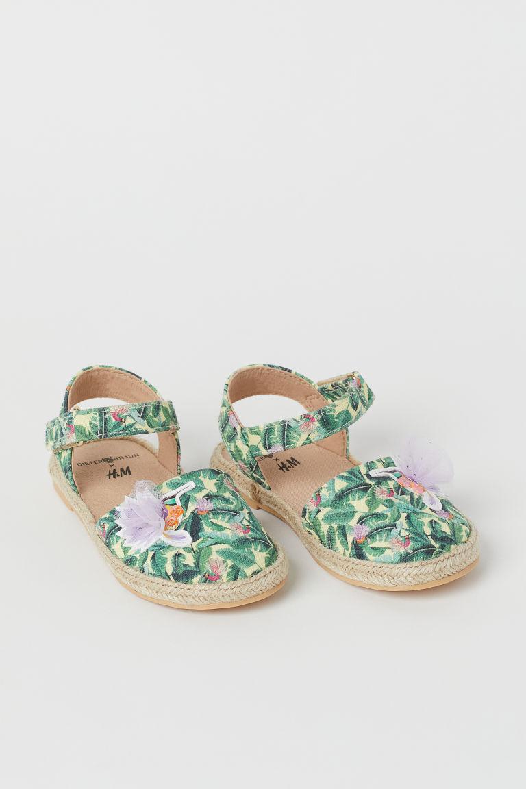 H & M - 印花涼鞋 - 綠色